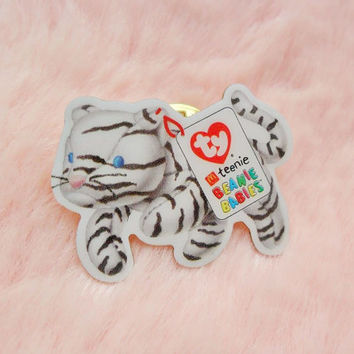 Vintage Retro 90s White Tiger TY Beanie Baby Teddy Soft Toy Collectable Collectible Pin Badge