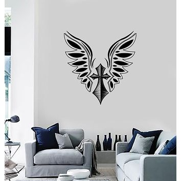 Wall Vinyl Decal Sticker Cross and Wings Tattoo Style Romantic Decor  Unique Gift (n1283)