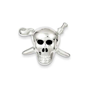 Sterling Silver with Enamel Skull with Cross Bones Pendant