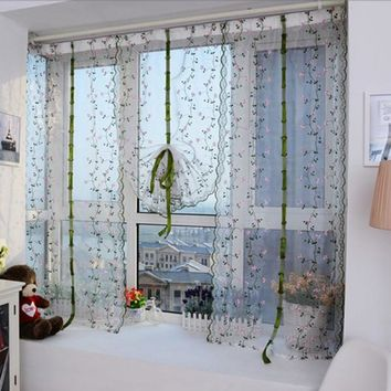 Fashion Flower color Floral Tulle Door Window Curtain Drape Panel Sheer Scarf Valance Home