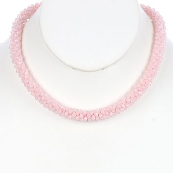 Pink Iridescent Micro Bead Crocheted Rope Necklace
