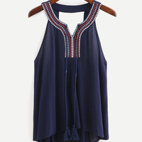 Embroidered Tassel Tie-Neck Cutout Top - Navy