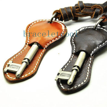 soft leather necklace key pendant men leather long necklace, women leather necklace  CR26
