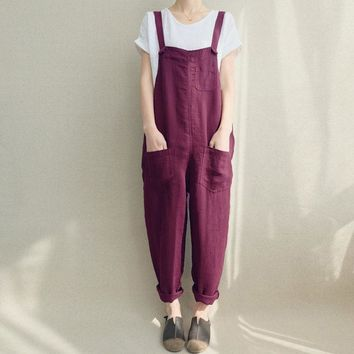 Plus Size ZANZEA 2018 Summer Women Loose Casual Bib Overalls Cotton Linen Rompers Long Jumpsuits Solid Strappy Pockets Dungarees