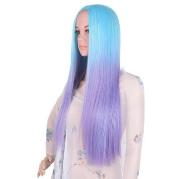 Blue Purple Ombre Straight Full Head Long Synthetic Wig