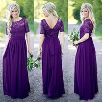 2017 Purple Long Bridesmaid Dresses with Half Sleeves Country Style Maid of Honor Prom Party Gowns Cheap Wedding Guest Dress