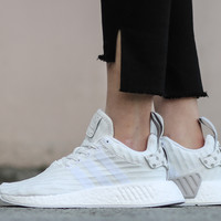 Best Online Sale Adidas NMD R2 Primeknit All White BY2245 Boost Sport Running Shoes Classic Casual Shoes Sneakers