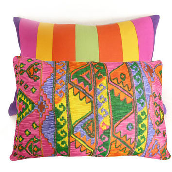 Colorful Boho Chic Pillows NEW Two Looks in by PillowThrowDecor