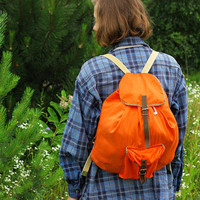 USSR Canvas & Leather Rucksack / Soviet Vintage Orange Drawstring Travel Backpack  Hiking / Camping /School / Festival Bag