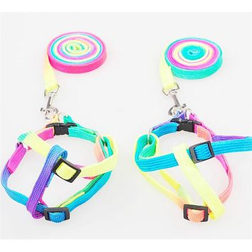 Colorful Pet Rope Harness Traction Rope Chain Lovely Rainbow Colored Dog & Cat Leashes