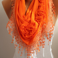 Orange Rose Cotton Shawl/ Scarf - Headband -Cowl with Lace Edge