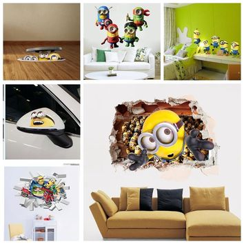 3D Sewer Minions  Wall Stickers  Cartoon DIY Removable Wall Decals For Kids Room Girl Baby Bedroom Animal Home Decor