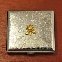 Floral Cigarette Case Flowers Victorian Metal Cigarette Holder Rose Gold Plated 24kt Gifts for Her Female Retro Rustic Steampunk Style Cover