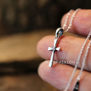 Sterling Silver Tiny Cross Pendant Necklace Women's Classic Jewelry