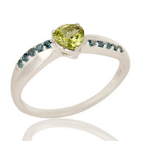925 Sterling Silver Blue Topaz And Peridot Gemstone Prong Set Halo Ring