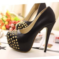 New BLACK 14cm Sexy Women Party Pump Rivet Stiletto platform High Heeled Shoes