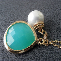 Glass Drop and Freshwater Pearl Necklace Turquoise Faceted Teardrop Pendant Jewelry Bridal Wedding Gift Present  Gold Filled Tiny Chain