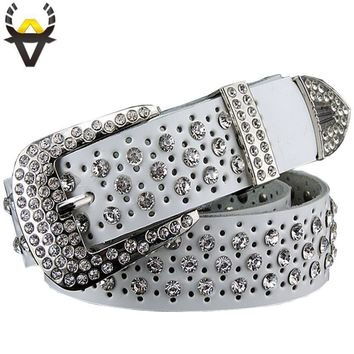 Women 100% Cow Hide Leather Luxury Rhinestone Belt