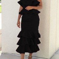 Black Cascading Ruffle Off Shoulder Backless Mermaid Cocktail Party Midi Dress