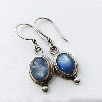 Luminous Misty Blue Cabochon  Moonstone  French Hook Dangle Drop Earrings in Sterling Silver Setting