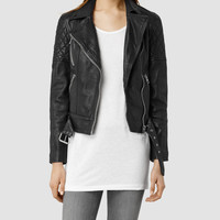 Womens Favel Leather Biker Jacket (Black) | ALLSAINTS.com