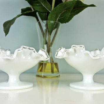 Vintage Fenton Silvercrest Pedestal Dish, Milk Glass, Ruffle Edge Milk Glass, Silver Crest Fenton Pedestal Footed, White Decorative Dishes