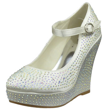 Womens Platform Shoes Rhinestone Studs Wedges Champagne SZ