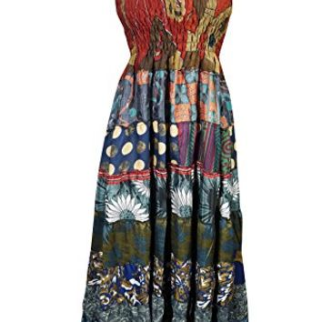 Mogul Womens Maxi Dress Spaghetti Strap Patchwork Printed Smocked Bodice Holiday Sundress (Blue)