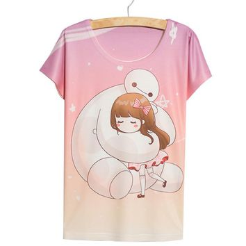 Thin Loose Cute Kawaii Hug Anime Women's 3D T-Shirt
