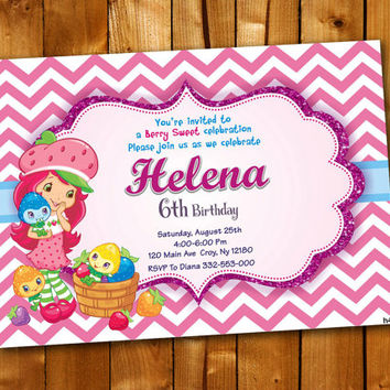 Strawberry Shortcake Pink Chevron, Birthday Invitation, Birthday Party for little boy and little girl