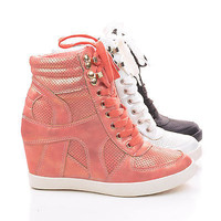 Eric9 Lace Up High Hidden Wedge Heel Fashion Sneakers