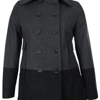Nine West Women's Colorblocked Wool Blend Peacoat