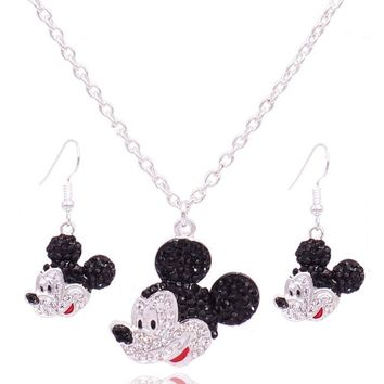 Fashion Cute Child Mickey Crystal Jewelry Sets For Women And Girls Gift Mouse Necklace Earrings Set Kids Jewelry