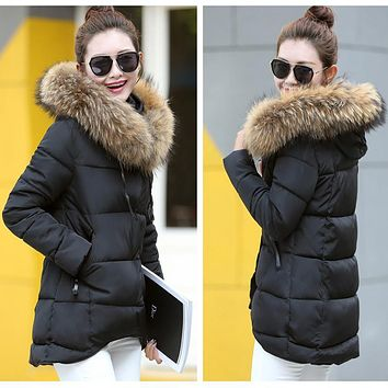 High Quality Fake fur collar Parka down cotton jacket 2016 Winter Jacket Women thick Snow Wear Coat Lady Female Jackets Parkas