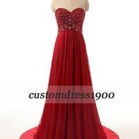 100% Handmade Beading Chiffon Red Prom Dress,Red Formal Women Dress,Long Red Evening Dress,,Red Wedding Party Dress