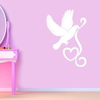 Housewares Vinyl Decal Dove Bird with Heart with Headphones Home Wall Art Decor Removable Stylish Sticker Mural Unique Design for Any Room