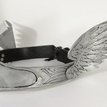 Silver Angel Wing Crown, Handmade from Leather