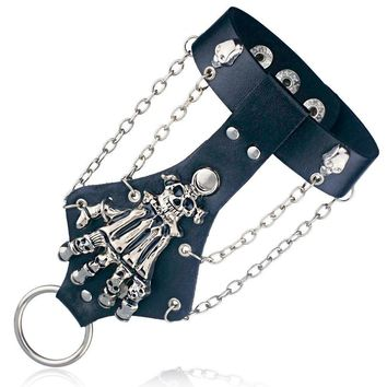 Unisex Punk Rock Gothic Skull Hand Chain Link Leather Bracelet