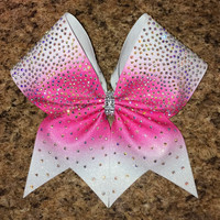 This item is no longer available for Christmas delivery - Dyed Glitter Sublimated Ombre Rhinestone Cheer Bow