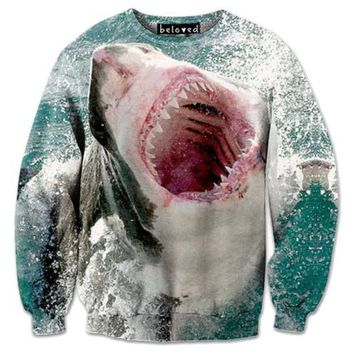 Realistic Shark Attack Jaws Graphic Print Unisex Pullover Sweatshirt Sweater