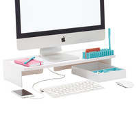 White Poppin Monitor Stand