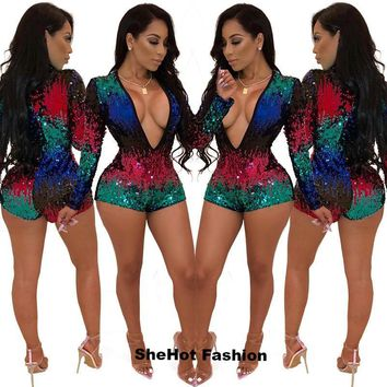 Women Sexy Deep V-Neck Multi-color Sequined Long Sleeve Romper