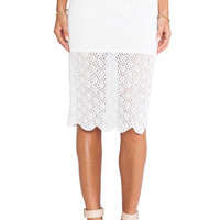 BCBGeneration Lace Pencil Skirt in White