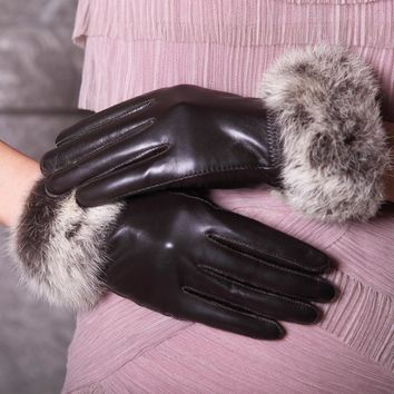 2017 women's genuine leather gloves rabbit fur Women gloves fashion cotton sheepskin gloves