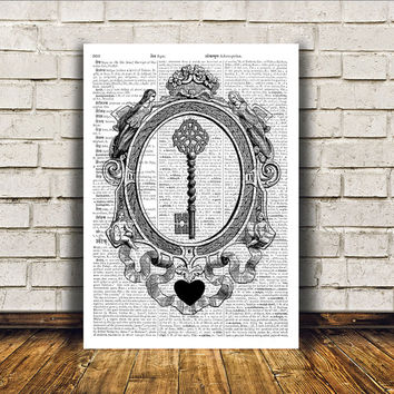 Skeleton keys art Steampunk print Antique poster Victorian decor RTA383