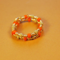 Wire Wrap Ring - Orange Gray Beads - Silver Filled Wire - Any Size - Jewelry - Rings - Gift - For her - For kids