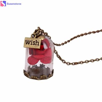 Antique Bronze Forever Rose Flower Glass Wish Bottle Necklace Women Ladies Rose Wishing Bottle Pendant