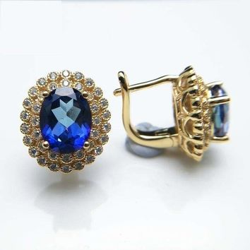Vintage Style Mystic Tanzanite Topaz Yellow Gold Clasp Earrings