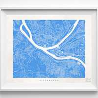 Pittsburgh, Pennsylvania, Wall Decor, Town, Illustration, Map, State, Print, Nursery, Poster, Pretty, Room, Art, World, Street [NO 522]