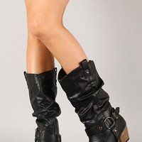Wild-02 Slouchy Western Cowboy Mid Calf Boot